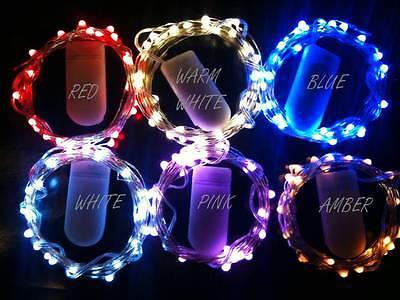 20 LED BLUE CR2032 Battery String Light 2m long CW UK Seller//Stock