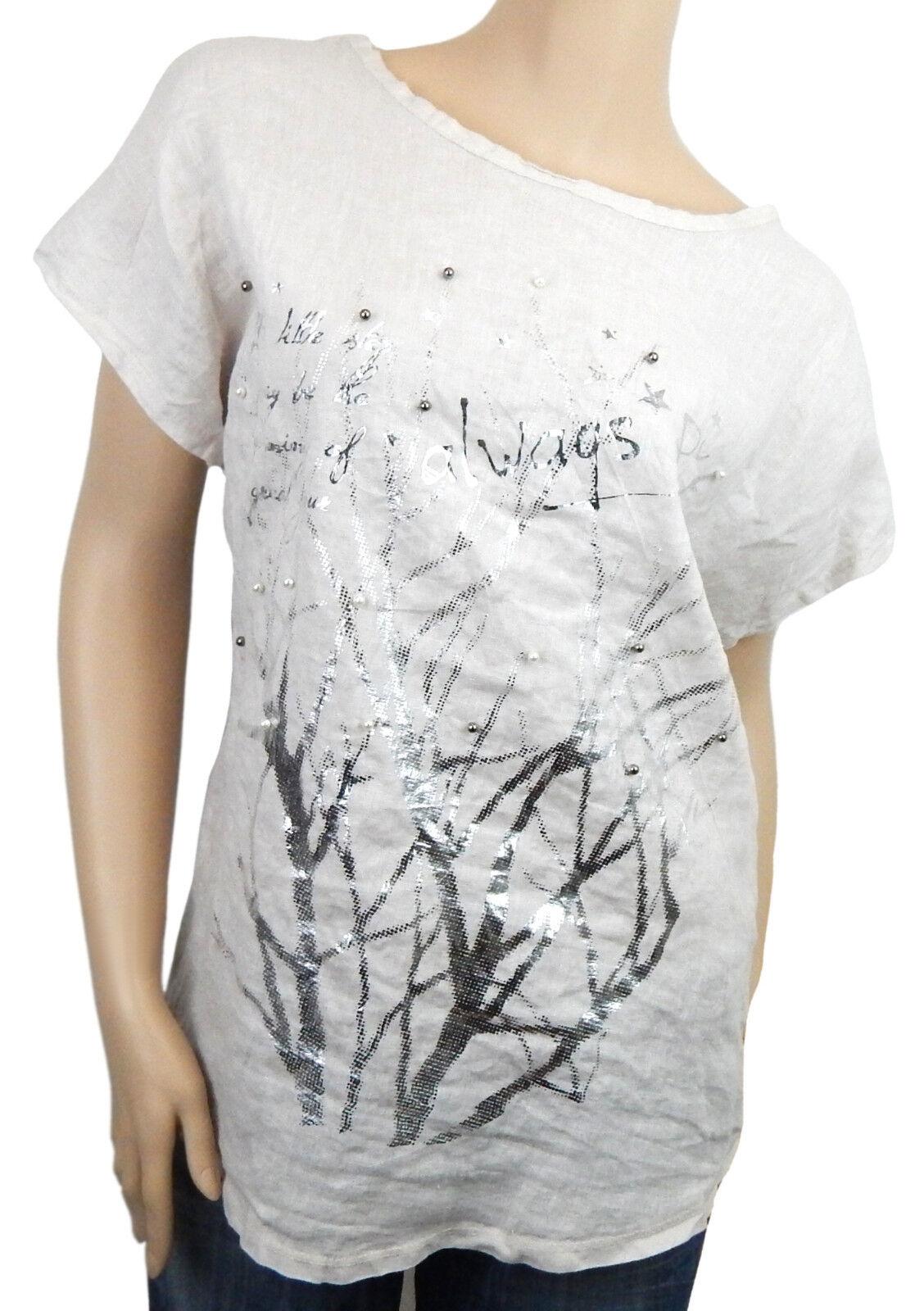 bluesenshirt 40 42 44 weiß silver Perlen Shirt Leinenbluese Made in  new in