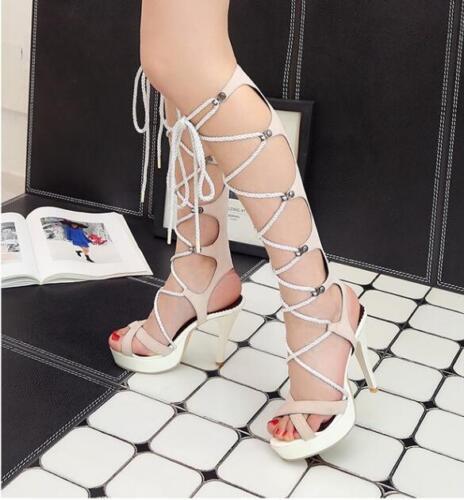 Gladiator Women/'s Lace Up High Heels Cross Sandales hautes bottes Stiletto New