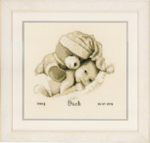 Birth Record Counted Cross Stitch Kit PN-0155574 Baby /& Teddy Vervaco