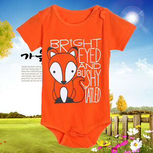 Newborn Infant Baby Boys Girls Short sleeve Fox Romper Jumpsuit Outfits Clothes