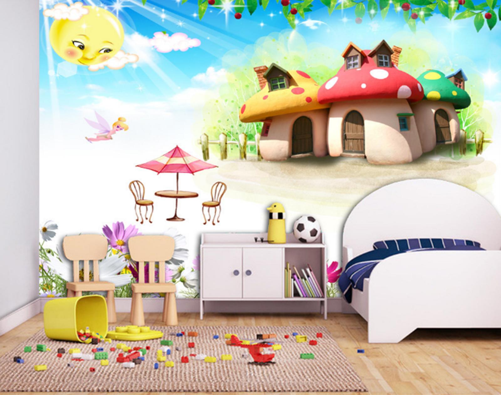 3D Blaumen Pilz Haus 8085 Tapete Wandgemälde Tapeten Bild Familie DE Summer   Kaufen Sie beruhigt und glücklich spielen    Die erste Reihe von umfassenden Spezifikationen für Kunden    Roman