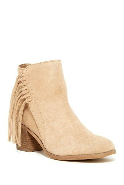 Damenschuhe KENNETH COLE Boot Tailgate Almond Braun Fringe Detail Ankle Bootie 7.5 M