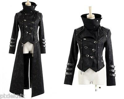New Scorpion Men/'s Coat Long Jacket Black Gothic Steampunk Hooded Trench