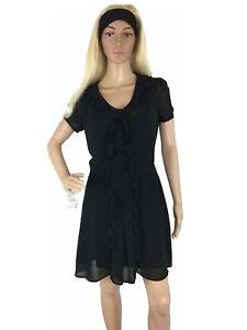 Xhilaration-Womens-Dress-Chiffon-ALine-Silk-Relaxed-Fit-Layered-Collared-Lined-M