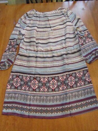 L Womens Mitto Shop Ornate Print Wine Long Sleeve Mini Midi Dress NWT
