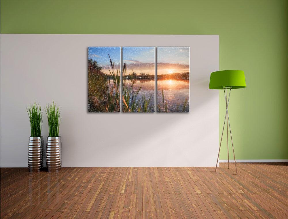 Soleado Morgen en en Morgen el Lago 3-Teiler Foto Lienzo Decoración de Pared Impresión 4f1614