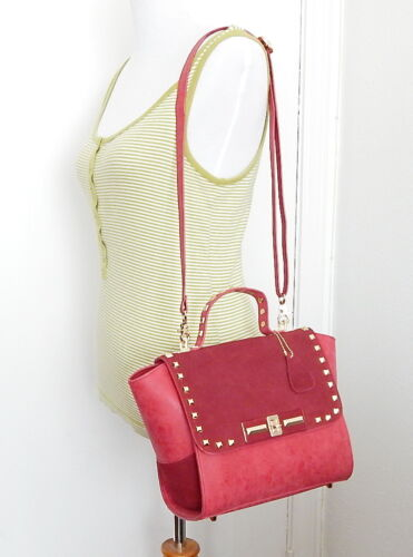 Red Satchel Genuine Brand Womens New Designer Leather Bags Lock shoulder Rivet wOPTikuXZ