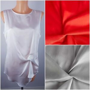 NEW-Ex-Store-Ladies-Twist-Front-Sleeveless-Satin-Top-Red-White-Grey-Size-8-20