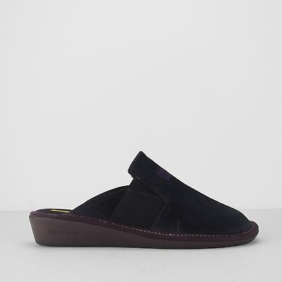 AFELPADO Ladies Soft Suede Leather Mule Slippers Marine Blue Nordikas 9160