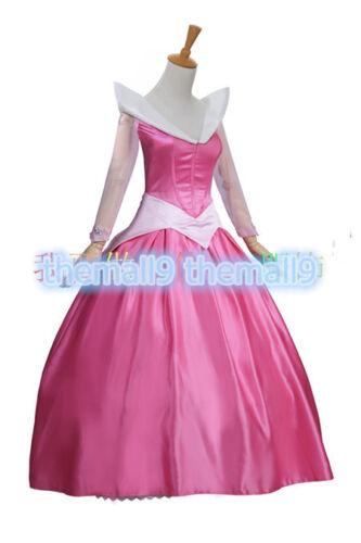 Sleeping Beauty Princess Aurora Pink Dress Adult Women Halloween Cosplay Costume