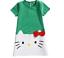 HelloKitty Girls Princess Dress Patchwork Bow Christmas Cotton Short Sleeve Kids