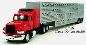 Mack-CH-613-Sleeper-LWB-w-Silver-48-039-Cattle-Trailer-HO-1-87-Scale-Promotex-6349