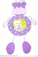 Baby Kids Girl Wooden Photo Frame Monkey Purple Blue Flower Hang On Wall Picture