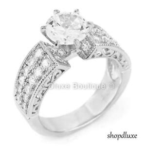Purposeful 2.95 Ct Round Cut Cz Vintage Style Sterling Silver Women's Engagement Ring Extremely Efficient In Preserving Heat Rings Engagement & Wedding