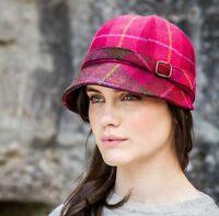 Irish Ladies Red Plaid Flapper Hat, Made In Ireland From Irish Wool - Flap-223a