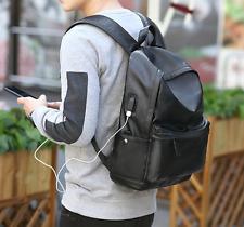 Men's Korean PU Leather Leisure Travel Bag Backpack Computer Students Schoolbags