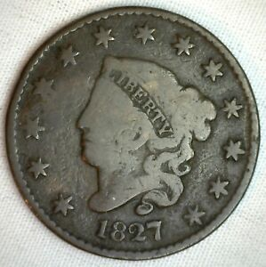 1827-Coronet-Large-Cent-US-Copper-Type-Coin-Genuine-Penny-Good-M30-G