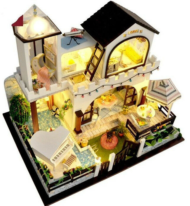 Nuevo  Casa de Muñecas en Miniatura-TB3, 2 historia Vacaciones Villa, con luces, música..