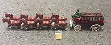 Cast Iron Budweiser Type Beer Wagon W/Clydesdale Horses 28 Beer Kegs Drivers Dog