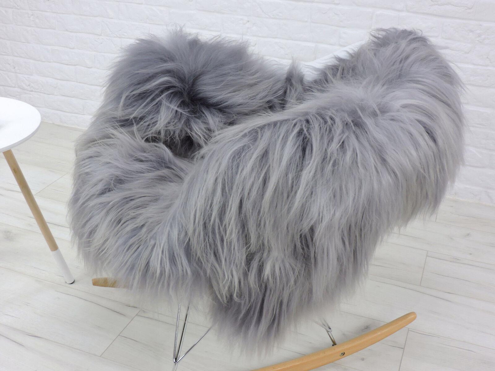 Alfombra de piel de oveja islandés increíble, solo gris gris gris con puntos destacados, SH1 47f197