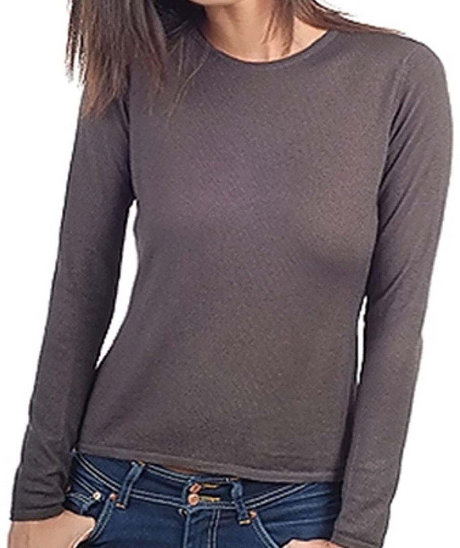 Balldiri 100% Cashmere Duvet jersey señora  cuello rojoondo 2-fädig Marrónies L  mejor opcion