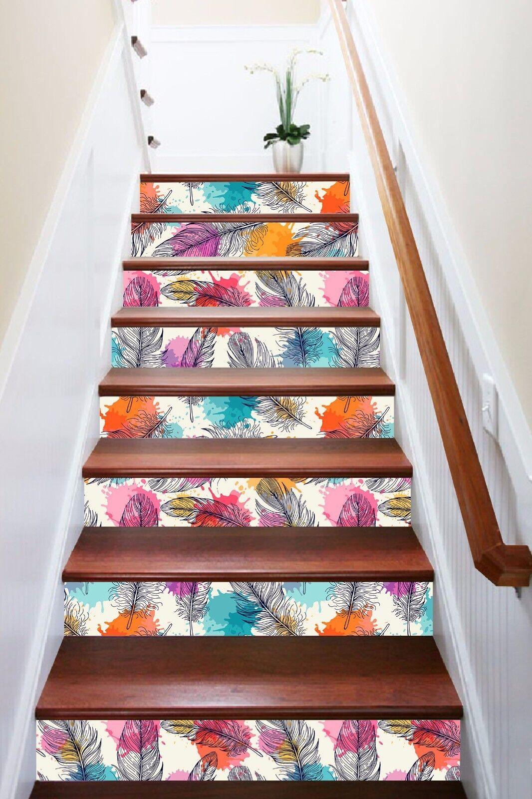 3D Hell Feder 867 Stair Risers Dekoration Fototapete Vinyl Aufkleber Tapete DE