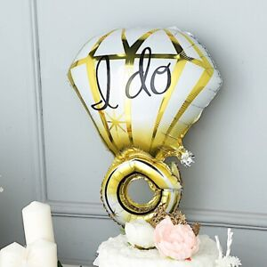 Details About Gold White 205 Tall Large Diamond Ring Mylar Foil Balloon Wedding Decorations