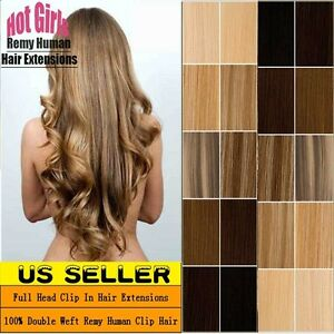 Real-THICK-160g-Double-Weft-Clip-In-Remy-Human-Hair-Extensions-Full-Head-XL462
