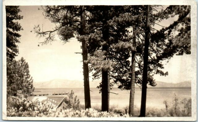 Lake Tahoe, Nevada / Calif. RPPC Photo Postcard Panorama View c1930s w/ Message