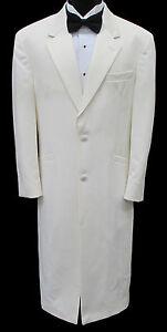 Very Long White Two Button Satin Notch Lapel Tuxedo Jacket Frock Coat Duster