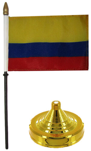 """Colombia 4/""""x6/"""" Flag Desk Wood Table Stick Staff Gold Base"""