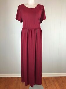 Details about Plus Size Nemidor Maxi Dress 26 Stretch Knit Pockets Wine Red  Casual