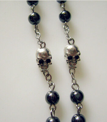 black rosary Beads /& silver skull catholic Rosary Prayer Necklace box crucifix