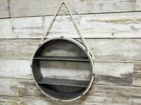 Industrial Metal Wall Shelves Hanging Rope Vintage Retro Round