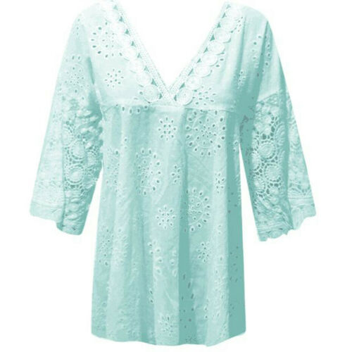 Women HalfSleeve Cotton Linen Hollow Out Lace Patchwork Lady T-Shirt Blouse Tops