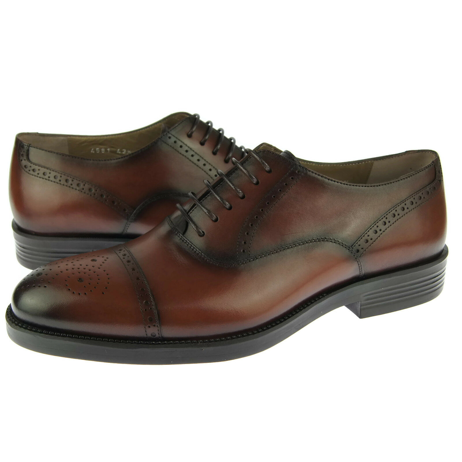 Corrente 4581 Cap Toe Oxford, Men's Dress Casual Leather shoes, Tobacco