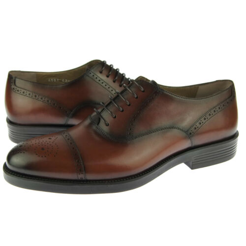 Corrente 4581 Cap Toe Oxford, Men's DressCasual Leather Shoes, Tobacco