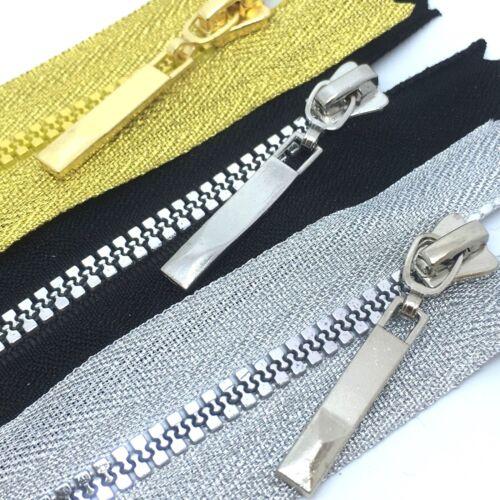 negros cremalleras 16-18cms de largo Grueso Plástico Dientes Cremallera Extremo Cerrado Plateado Oro