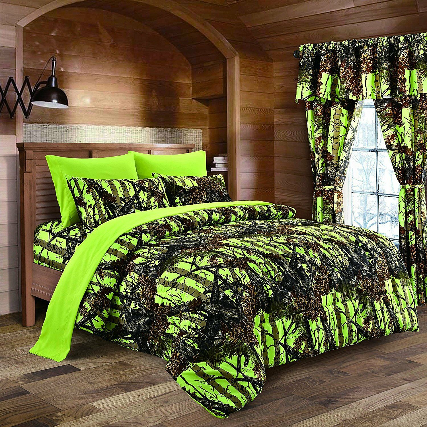 The Woods Camo Lime 12 piece Queen Size Comforter and Sheet Set with Curtains