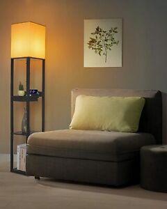 Modern Shelf Floor Lamp Light Standing Column w Storage Shelves Charging Station
