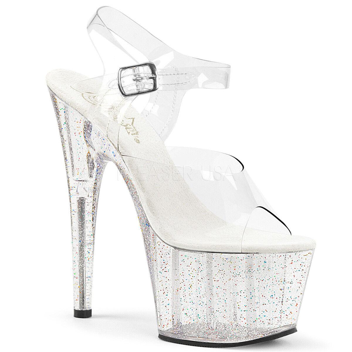PLEASER ADORE 708MG CLEAR PLATFORM POLE DANCING STILETTO HEEL SANDALS Schuhe