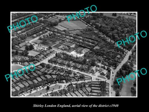 OLD 6 X 4 HISTORIC PHOTO SHIRLEY LONDON ENGLAND, AERIAL VIEW OF DISTRICT c1940