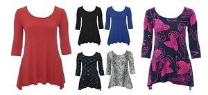 Gorgeous-Stretch-Plain-Print-3-4-Sleeve-Top-Size-14-24-Womens-Ladies-Bnwt-LICK