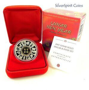 2007-LUNAR-NEW-YEAR-HOLEY-DOLLAR-amp-DUMP-Silver-Proof-Coin
