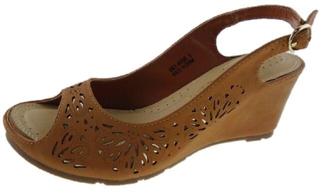 a07a4fc36 Ladies BATA Low Wedge Peeptoe Wide Fit Cushion Slingback Sandals TAN UK 3 -  UK 8