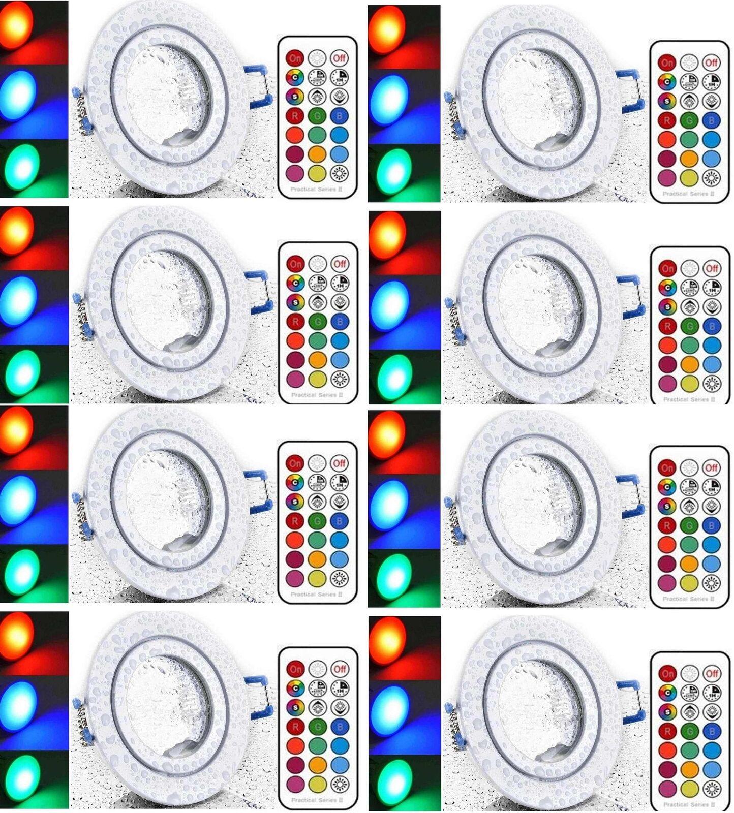 8xLed Feuchtraum Einbaustpot weiß+RGB kaltweiß dim. mit Timer+Fernbedienung 230V