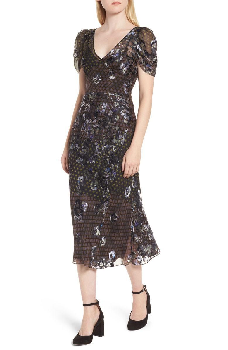 Lewit Medium Puff manches Floral Jacquard Midi robe fashion Haven