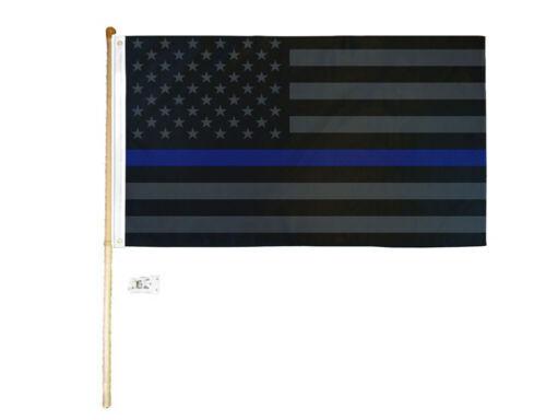 5/' Wood Flag Pole Kit Wall Mount Bracket 3x5 USA Thin Blue Line Blackout Flag
