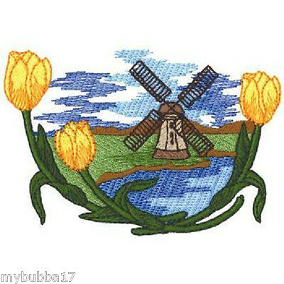 TULIPS PAIL STUNNING SET OF 2 BATH HAND TOWELS EMBROIDERED BY LAURA